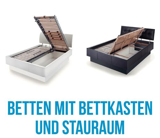 Polsterbetten und Stoffbetten mit Stauraum und Bettkasten bei Bettenhaus Berner
