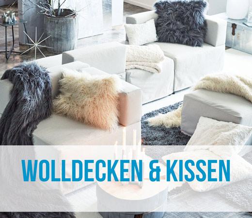 Wolldecken und Sofakissen für die Couch und das Schlafzimmer in großer Auswahl